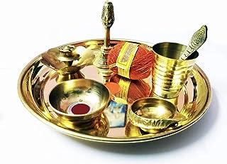 Brass Pooja Thali Set of 9 Pcs