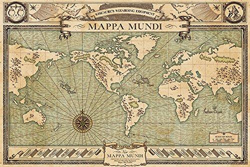 Fantastic Beasts - Phantastische Tierwesen - Mappa Mundi Map Karte - Film Kino - Poster Druck - Größe 91,5x61 cm