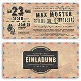 (30 x) Einladungskarten Geburtstag Vintage Ticket Retro alt Look Karte Einladungen