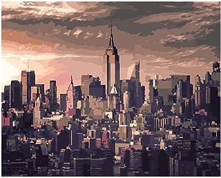 Pintar Por NumerosAdultos Tranquilo Nueva York Al Atardecer Paisaje Diy Grande Pintura Al Óleo Kits Color Lienzo Facil Pincel Infantil Principiantes Sin Marco 40X50Cm,Zhxx
