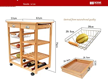 LeafRed C Kitchen & Dining Room Cart 2-Drawer Removable Storage Rack with Rolling Wheels Heavy Duty Shelving Storage Unit