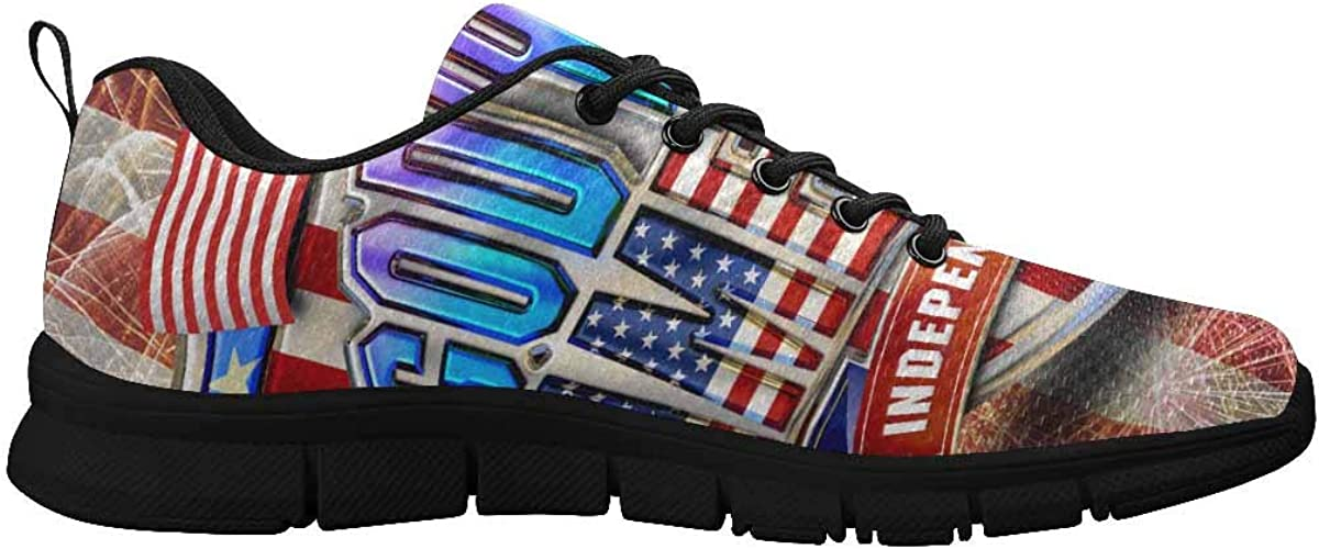 InterestPrint American Shield Bald Eagle and Stars Women's Sneaker Lace Up Running Comfort Sports Shoes