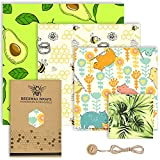 Beeswax Wrap Set of 4 - Reusable Food Wrap, Sustainable Washable Beeswax Wrapping, Eco Friendly Free Food Storage for Bread and Sandwich, Alternative to Cling Film