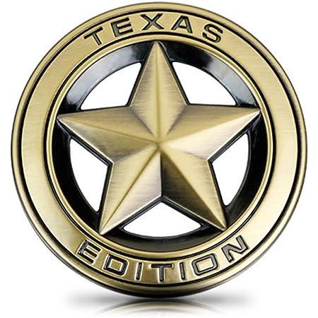 Dsycar Durchmesser 3 3d Metall Texas Edition Stern Auto Emblem Bagde Aufkleber Decals Für Universal Autos Motorrad Auto Styling Dekorative Zubehör Gold Auto