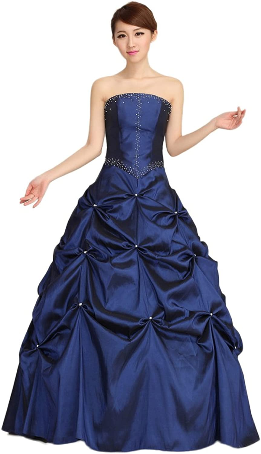 WeWind Women Wedding Dresses Royal bluee Evening Dress Strapless Party Wear