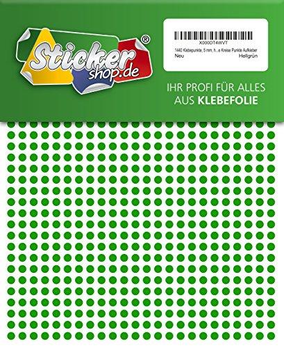 1440 Klebepunkte, 5 mm, hellgrün, aus PVC Folie, wetterfest, Markierungspunkte Kreise Punkte Aufkleber