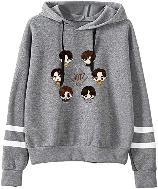 NCTCITY GOT7 KPOP Felpe Casual Sciolto con Cappuccio Sweatshirts Stampate per Donne Autunno Invernale Maglie Manica Lunga Pullover JB JinYoung Mark Jackson Youngjae Bambam Yugyeom