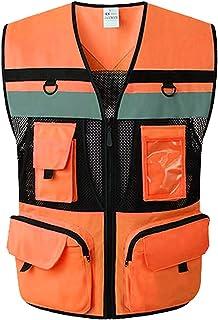 YUFENGBAIHUODIAN 9 Poches Moto Orange Orange Estival Gilet de sécurité réfléchissant Gilet de sécurité Haute visibilité Nu...