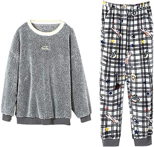 ZZHF Pijamas, Amantes de Invierno Espesar Pijamas Mujer ...