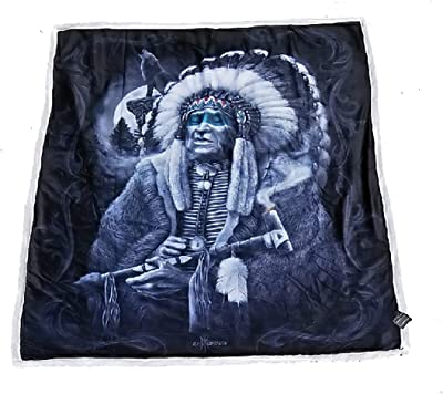 DGA Day of the Dead Wolf Native Chief Queen Size Soft Plush Blanket Vision Quest