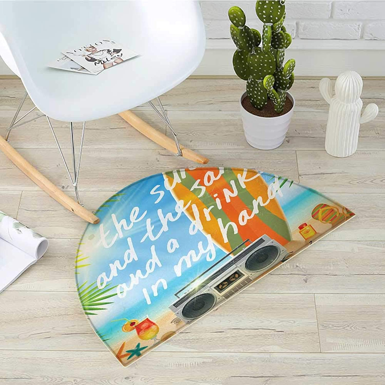 Quote Semicircle Doormat Retro Design Tropical Beach with Surfboard Palm Leaves Flip Flops and Sunglasses Halfmoon doormats H 39.3  xD 59  Multicolor
