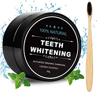 Activated Charcoal Natural Teeth Whitener Teeth Whitening Charcoal Powder Proven Safe For Enamel with Bamboo Brush 1.05 oz