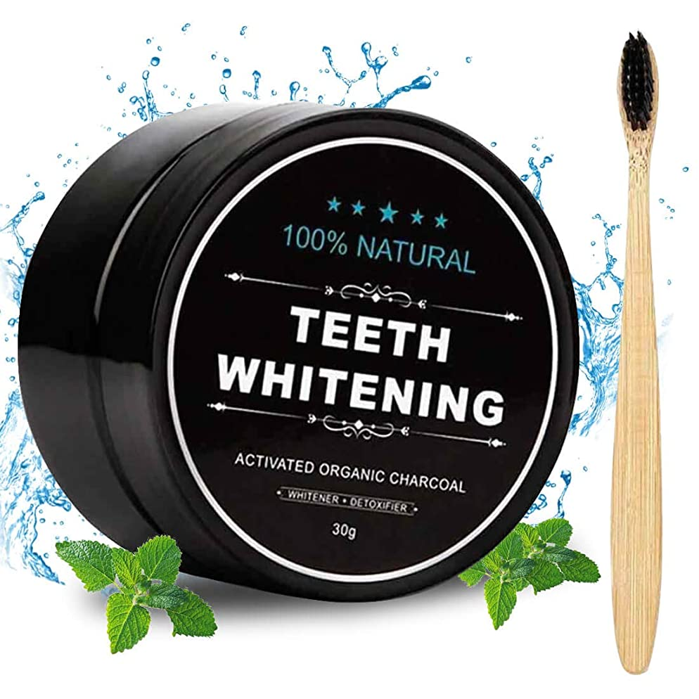 Activated Charcoal Natural Teeth Whitener Teeth Whitening Charcoal Powder Proven No Hurt on Enamel with Bamboo Brush 1.05 oz