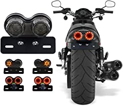 Cara 40W 40-LED Motorcycle Tail Light Integrated Running Brake Lights Turn Signal Lamp License Plate Bracket for Harley Honda Yamaha Suzuki Kawasaki (Black)
