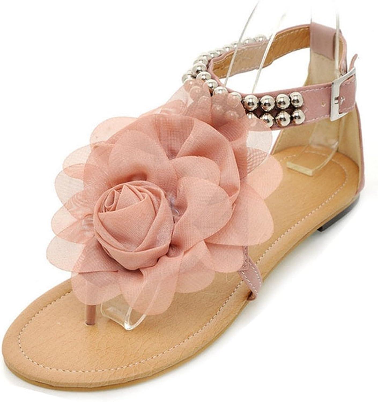 GIY Womens Flower T-Strap Thong Flat Sandal Slip-On Flops Flip Flops Flats Sandals