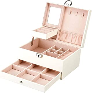 Jewellery Box Organizer, Jewellery Case Lockable PU Leather with Mirror, Portable Leather Jewelry Storage Holder with Remo...