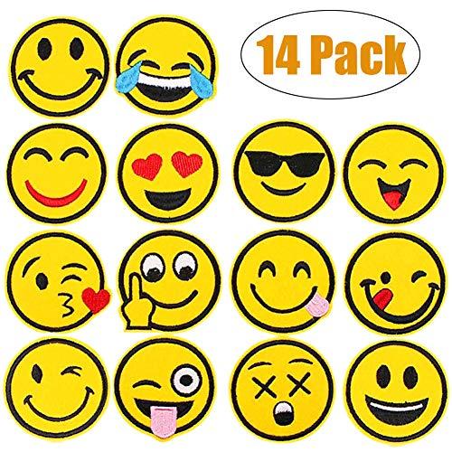 Meetlight Aufnäher zum Aufbügeln, Motiv Emoji-Gesichtsausdruck, bestickter Flicken zur Reparatur oder Verschönerung 14 Teile