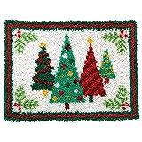 Latch Hook Rug Kits for Adults Kids DIY Rug Crochet Yarn Kits Printed Canvas Christmas Tree Pattern Home Decor 20.5'X 15'