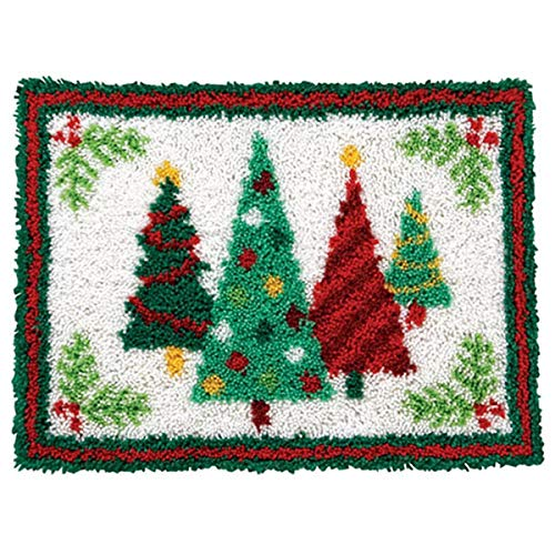 Latch Hook Rug Kits for Adults Kids DIY Rug Crochet Yarn Kits Color-Coded Canvas Christmas Tree Pattern Home Decor 20.5'X 15'