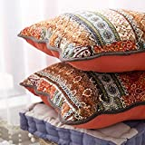 mixinni Bohemian Style Quilted Jacquard Style Cotton Linen Red Throw Pillow Cover 2 Pieces 18'x18' - Uses for Sofa/Chair/Bed