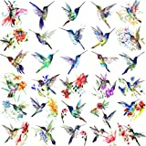 15 Sheets FANRUI 3D Watercolor Hummingbird Temporary Tattoos For Women Girl Small Multicolor Hummer Birds Tattoo Temporary Colorful Flower Fake Face Tatoo Kids Tiny Hands Waterproof Tatto Adult Tato
