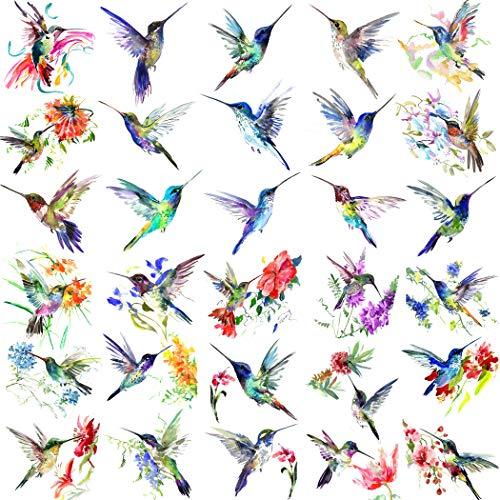 NAPPO 15 Blätter Klein Kolibri Temporäre Tattoos Frauen Mädchen Vögel Aquarell Fake Tattoo Temporär Blume Erwachsene Kinder Klebe Tattoo Zum Aufkleben Auf Die Haut Wasserfest Frabe Bunt Tatoos Farbe