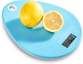 Bonsenkitchen Báscula Digital Balanza de Cocina Profesional, Escala de Peso de Alta Precisión con Vidrio Desmontable y Pantalla LCD - 5 kg / 11 lb, Báscula de Alimentos Electrónica, Azul(KS8801)