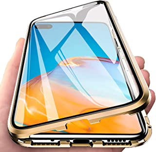 EabHulie Huawei P40 Pro Case, 360° Full Body Transparent Tempered Glass with Magnetic Adsorption Metal Bumper Case Cover f...