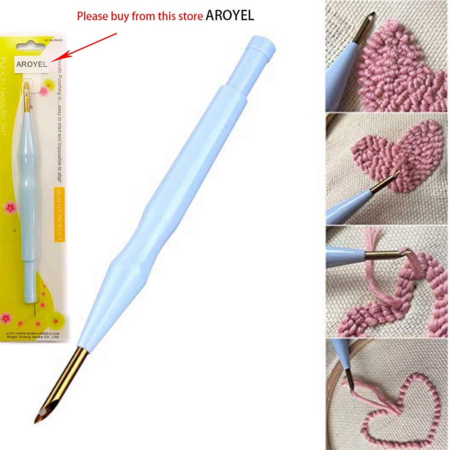 Magic Embroidery Pen Embroidery Needle Weaving Tool, Adjustable Punch Needle Stitching Kit Rug Yarn Needle Embroidery Pen Felting Threader Needles Beginners Beginner