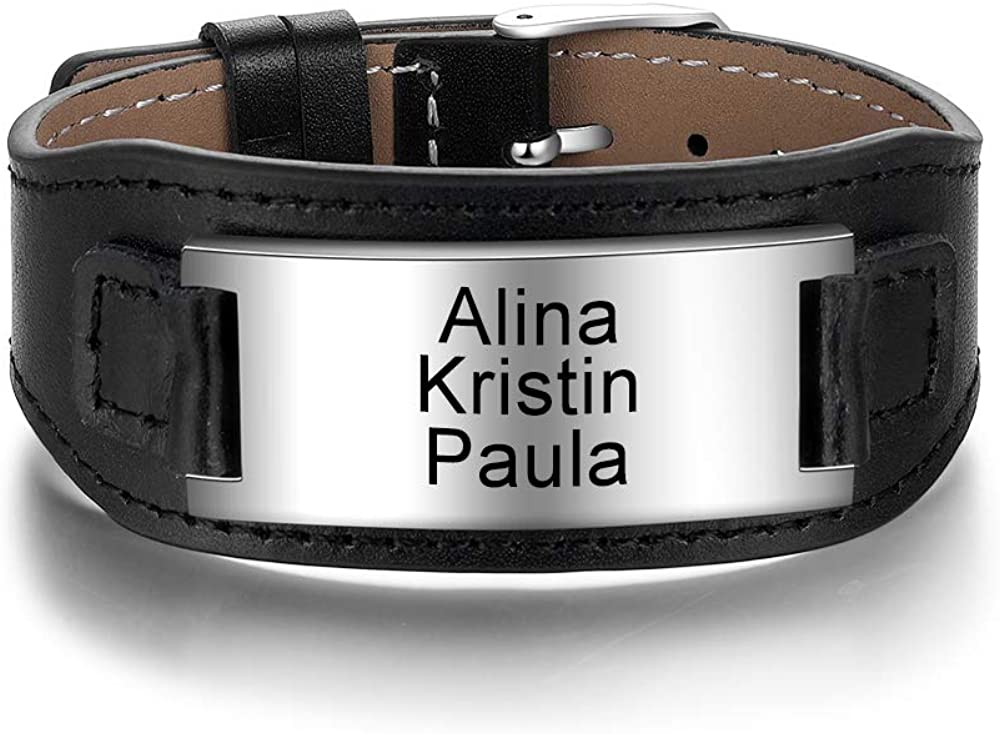 Personalized Men's Leather Genuine Sport Wristband All stores are sold Emergency ID Custom N