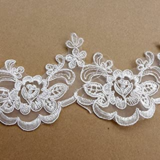 5 yards off white robin lace trim 8cm width wedding dress/party dress/girl dress lace trimming