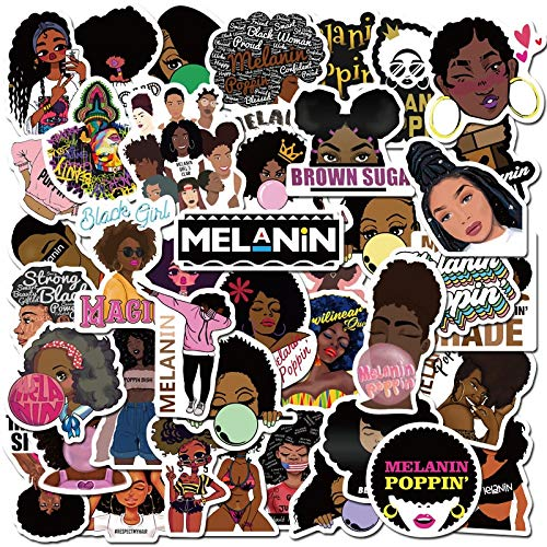 Fashion Inspirational Melanin Poppin Black Girl Sticker for DIY Luggage Laptop Skateboard Motorcycle Decal Stickers 100 Pcs