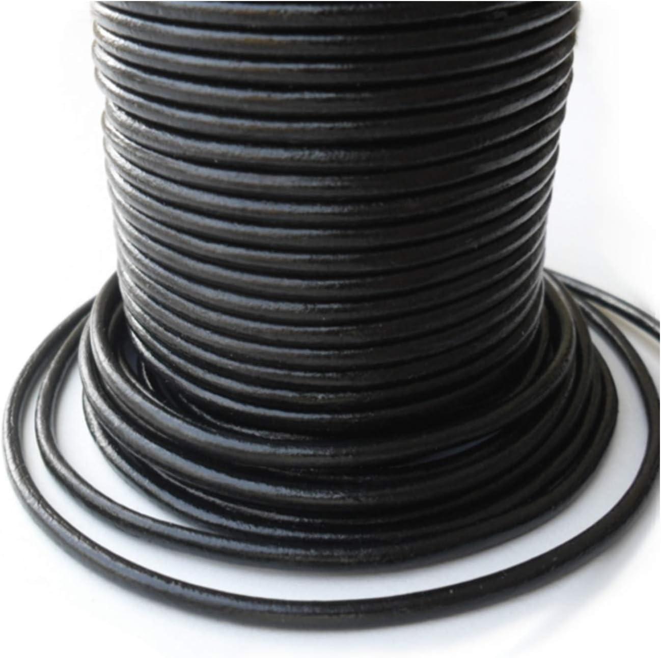 Auroris - 10m Bargain sale Leather Cord Round Challenge the lowest price of Japan ☆ 4 mm Ø Black