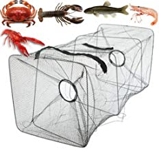 CapsA Fishing Trap and Foldable Fishing Net Gear Crab Prawn Shrimp Crayfish Lobster Crawdad Nylon Rope for Catching Small Bait Fish Eels Crab Lobster
