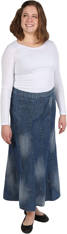 CATALOG CLASSICS Women's Denim Skirt, Flared A-Line Patchwork Stitched Mid-Calf