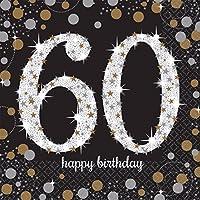 (アムスキャン) Amscan キラキラ 60歳の誕生日おめでとう Happy Birthday ペーパーナプキン (16枚入) (ワンサイズ) (ブラック/ゴールド)