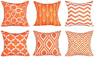 Top Finel Decorative Pillow Covers Set Durable Canvas Outdoor Cushion Covers 20 X 20 for Couch Bedroom Car, Pack of 6, Orange