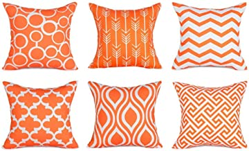 Topfinel Decorative Pillow Covers Set Durable Canvas Outdoor Cushion Covers 20 x 20 for Couch Bedroom Car, Pack of 6, Orange