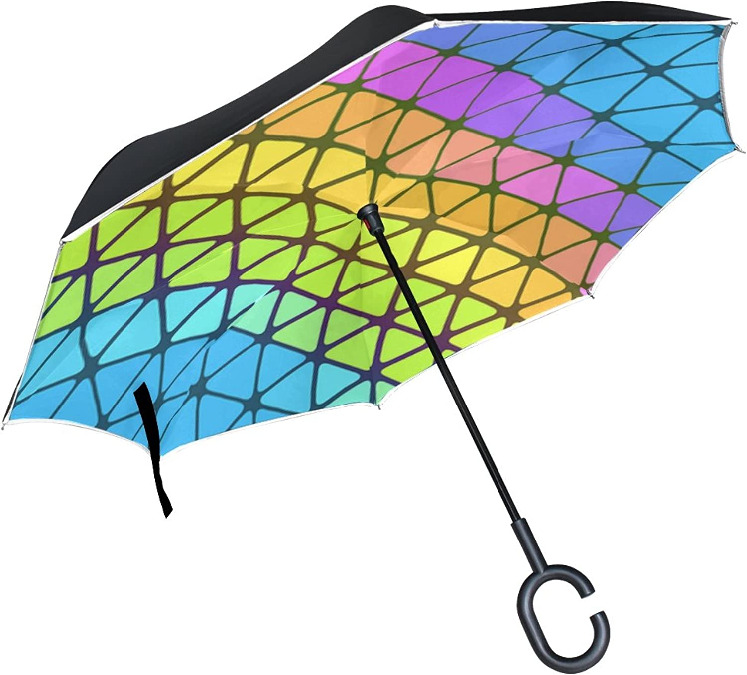 Double Layer Ingreened colorful Pattern Gradient Shapes Triangle Texture Umbrellas Reverse Folding Umbrella Windproof Uv Predection Big Straight Umbrella for Car Rain Outdoor with CShaped Handle