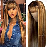 180 Density 4/27 Ombre Highlight Color non Lace Front Human Hair Wigs With Bangs for Black Women Straight 9A Brazilian Remy Hair Wig ( OCTSUN Hair 18 Inch, Ombre Wigs)