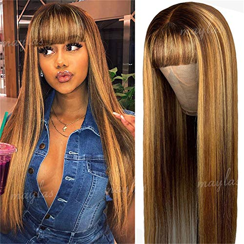 Straight Highlight 4#27 Colored non Lace Front Wigs with Bangs Human Hair Wigs For Black Women 9A Brazilian Human Hair Wigs 180% Density. Ombre Color ( OCTSUN Hair 16inch, Straight Wigs)