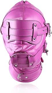 ノウ建材貿易 取り外し可能な大人の窒息ヘッドギアパッションフェイクレザー緊縛セックスクローズドヘッドギアゴーグルバインディングマウスボールトレーニングマスク (サイズ : Long size)