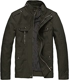 Men's Cotton Stand Collar Lightweight Front Zip Jacket