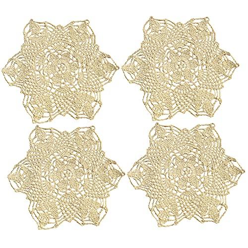 Tapete de crochet de algodón Kilofly de 17,78 cm, color beige, 4 unidades, algodón, beige, 7 pulgadas