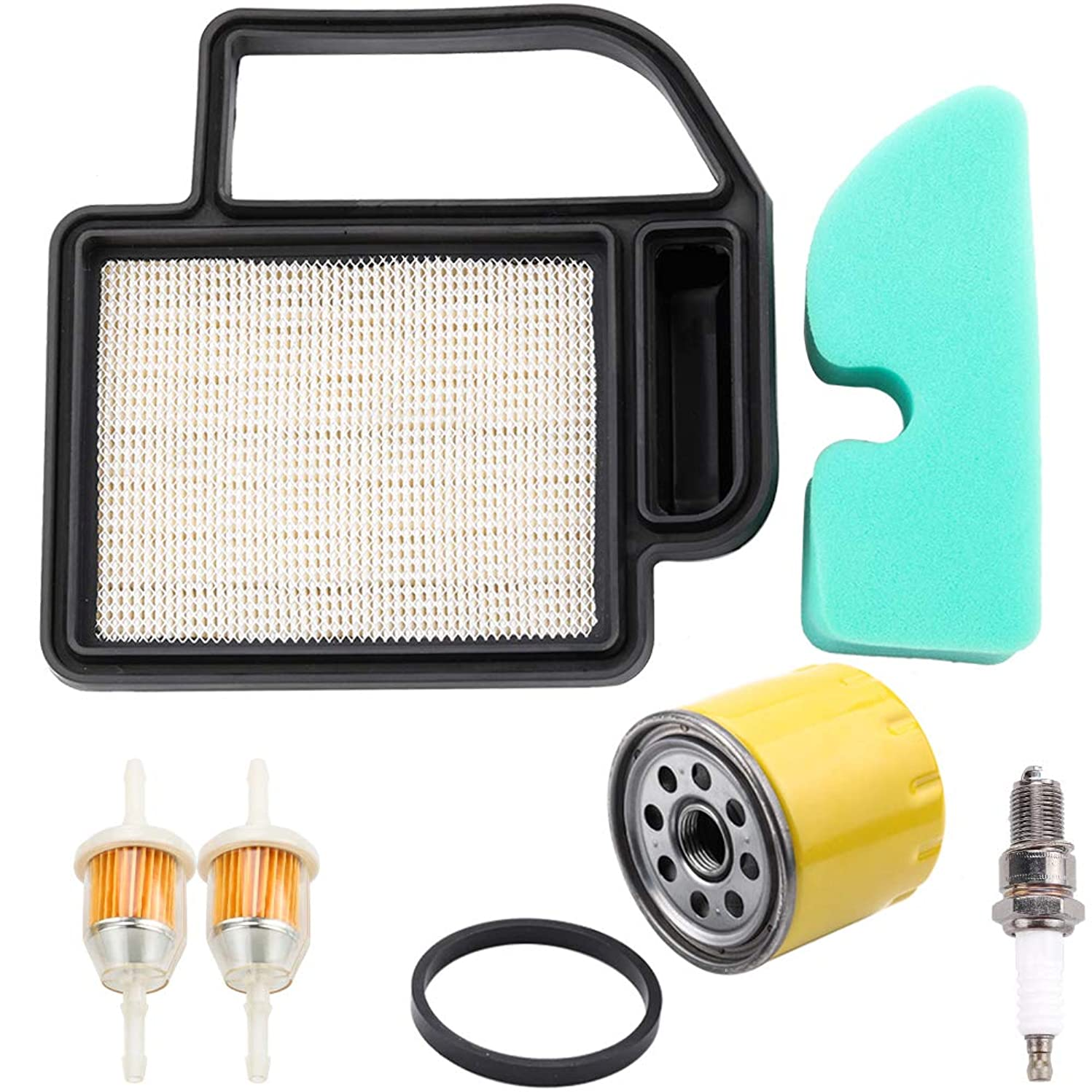 Dxent 20 083 02-S Air Pre Filter Fuel Filter Spark Plug Tune-Up Kit for Kohler SV470S SV480S SV530S SV540S SV590S SV620 15HP 16HP 17 HP 4 Cycle Courage Tractor Troy-Bilt 52 050 02-S Engine Lawn Mower