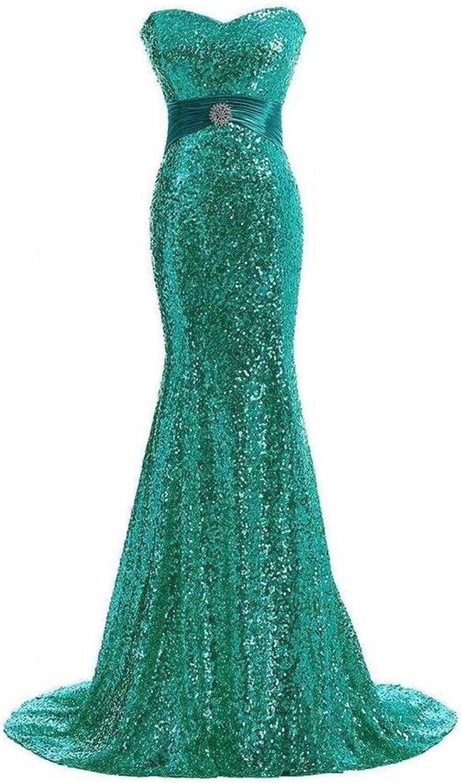Elegant Ladies Dress Tube Top Small Trailing Strap Fishtail Evening Dress Long Host Evening Dress Sequins Bridesmaid Dress (color   Green, Size   US12)