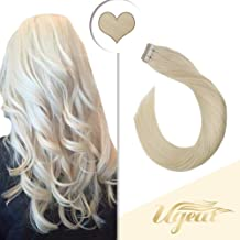 Ugeat 22 Inch Skin Weft Natural Hair Extensions 50g/20PCS Remy Tape in Hair Extensions #60 Platinum Blonde PU Tape in Human Hair Extensions