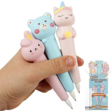 BUNMO Kawaii Gel Pen Squishies - Squishy Cute Pens - Unicorn Girl Toys Age 5 and Gifts for Girls Age 10-12 Years Old