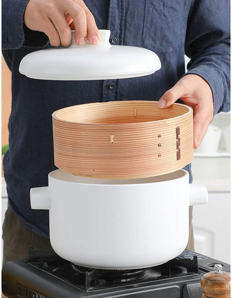 inklusive Keramik-Tontopf und Bambus-Dampfgarer Dampfgarer TELLMNZ Dampfgarer-Set mit Deckel Multifunktions-Kochtopf f/ür Kn/ödel-Eintopf-Eintopfsuppe A 2,5 l Suppentopf