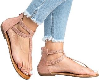 AIMTOPPY HOT Sale, Women Diamond Zipper Toe Roman Cross Low Flat Flip Flops Flat Sandals Shoes (US:7, Pink)